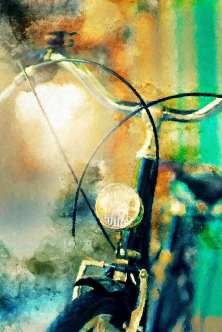 Bicycle With Head Lamp (PRT_387) - Canvas Art Print - 21in X 32in