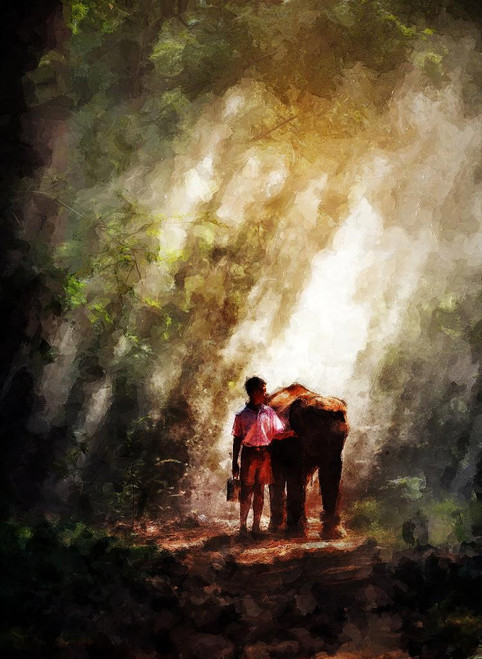 School Boy With Baby Elephant (PRT_392) - Canvas Art Print - 21in X 29in