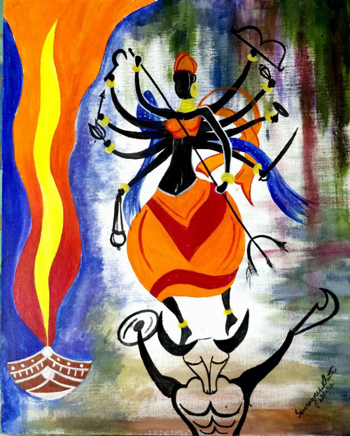 Durga in tribal form (ART_4537_27467) - Handpainted Art Painting - 20in X 24in