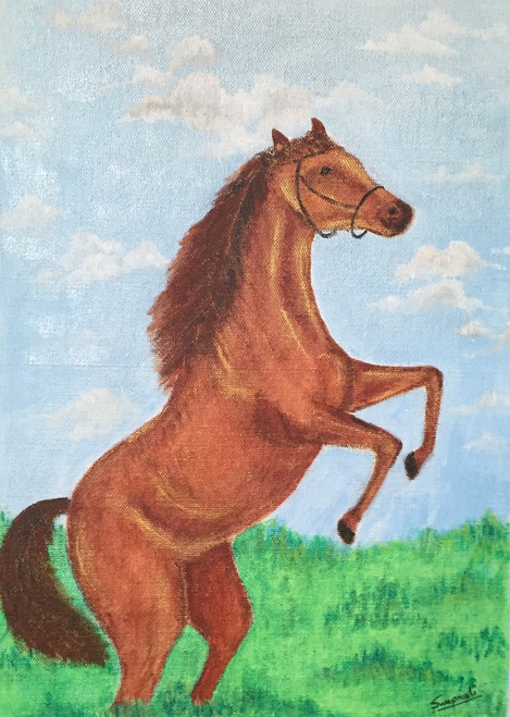 Leaping Horse (ART_3289_27414) - Handpainted Art Painting - 12in X 16in