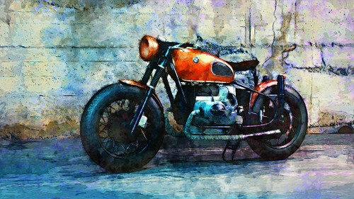 BMW Motorcycle (PRT_431) - Canvas Art Print - 38in X 21in