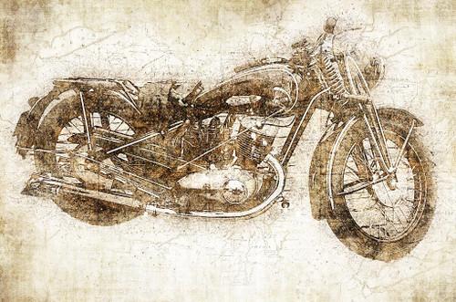 Vintage Motorcycle (PRT_441) - Canvas Art Print - 32in X 21in