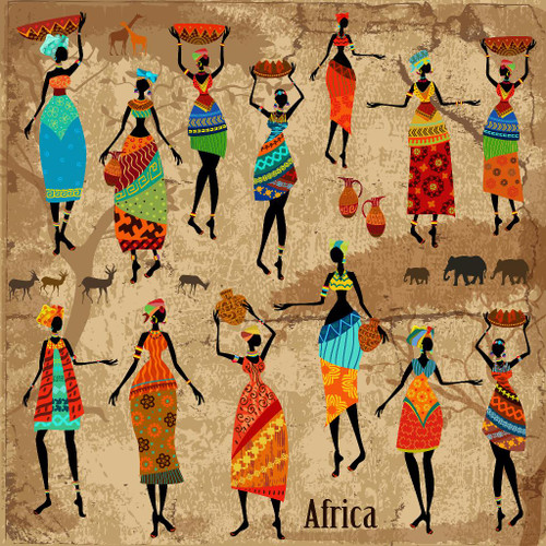 African Tribal Art 2 (PRT_532) - Canvas Art Print - 28in X 28in