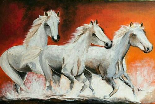 Running horses (ART_4832_28712) - Handpainted Art Painting - 25in X 17in (Framed)