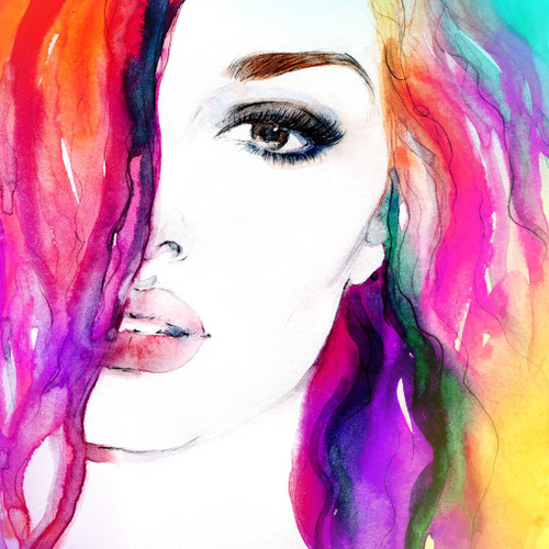 Beautiful Woman In Watercolor (Artist Annamile) (PRT_538) - Canvas Art Print - 22in X 22in