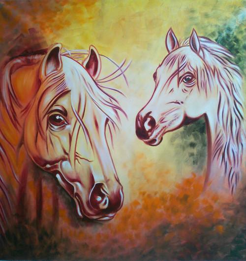 Horse pair (ART_4698_28201) - Handpainted Art Painting - 40in X 40in