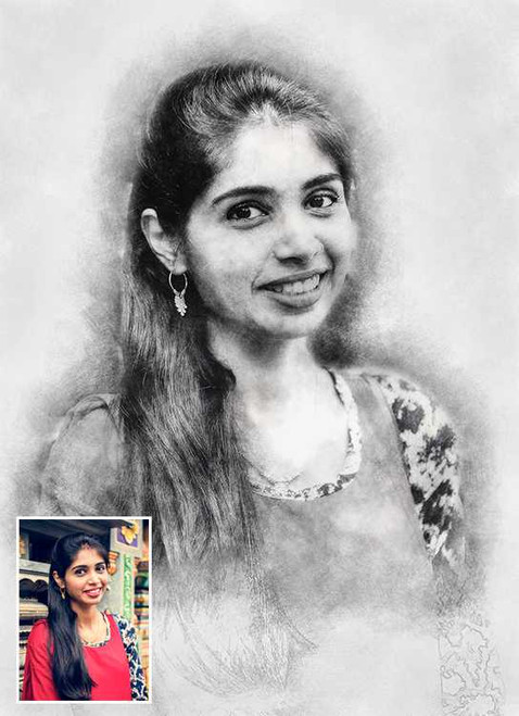 Pencil Sketch Portrait (with Borderless Frame)
