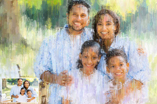 Impressionist Style Portrait (with Borderless Frame)