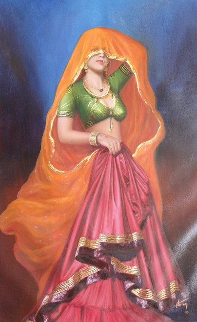Rich colors of India (ART_1246_28945) - Handpainted Art Painting - 18in X 24in