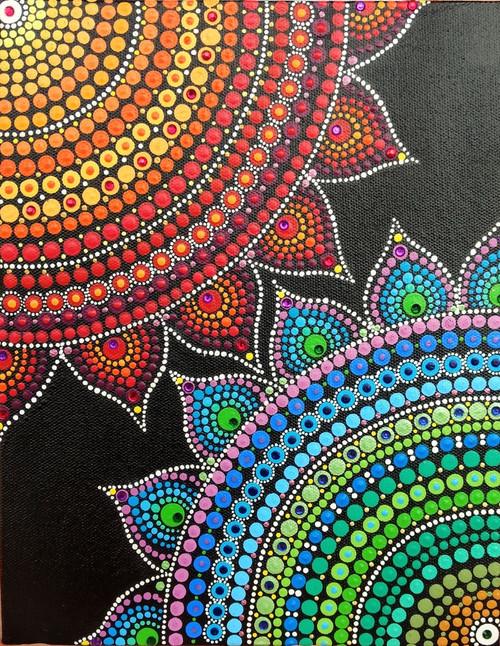 Buy Mini Canvas Mandala Dot Painting Abstract Acrylic On Canvas