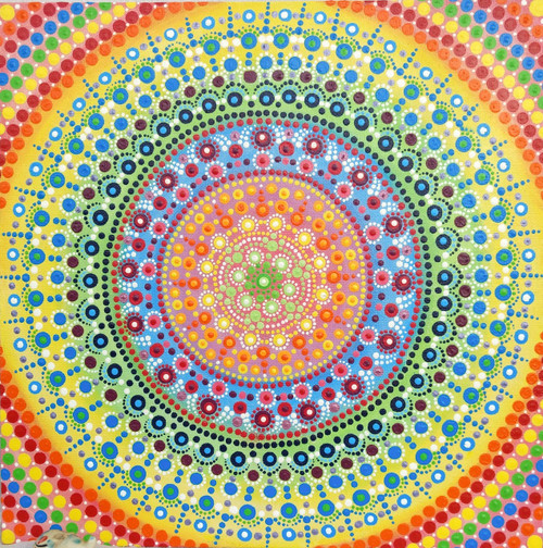 Buy Mini Canvas Mandala Dot Painting- Abstract Acrylic on canvas