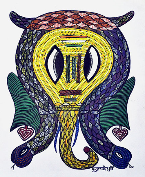 Gond Art (ART_4573_29108) - Handpainted Art Painting - 11in X 14in