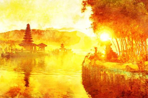 Sunrise At Ulun Danu Bali (PRT_553) - Canvas Art Print - 32in X 21in