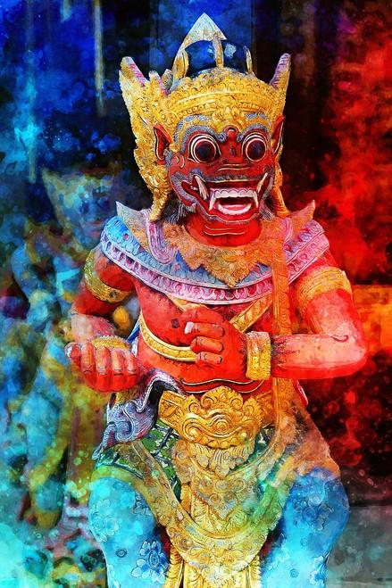 Barong Dance Statue Bali (PRT_554) - Canvas Art Print - 21in X 32in