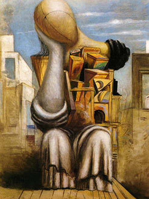 1Chirico23 - 30in X 40in,1Chirico23_3040,Yellow, Brown,75X100 Size,Replicas Art Canvas Painting