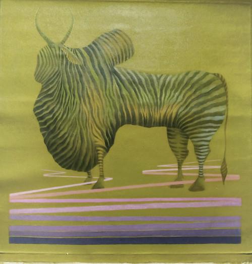BULL'S DIGNITY IN ZEBRA (ART_4989_29231) - Handpainted Art Painting - 30in X 30in