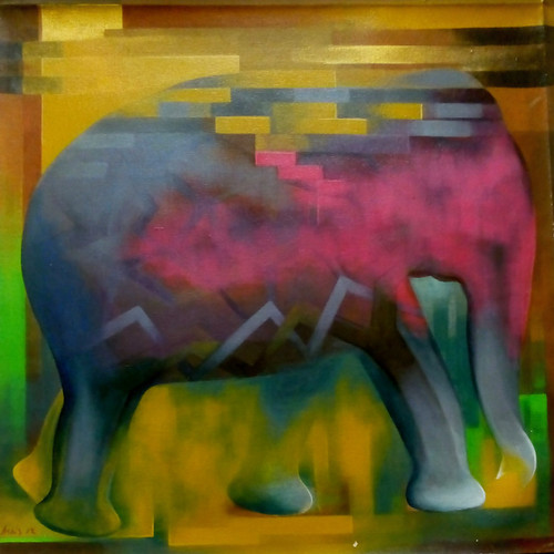 INNER STRUCTURE OF ELEPHANT (ART_4989_29230) - Handpainted Art Painting - 30in X 30in