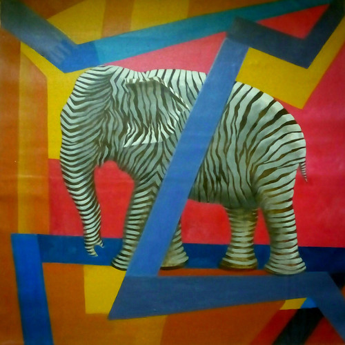 FUSION OF ELEPHANT & ZEBRA (ART_4989_29228) - Handpainted Art Painting - 30in X 30in