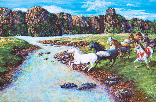 8 Running Horses Towards The Stream (PRT_784) - Canvas Art Print - 22in X 14in