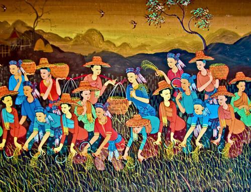 Farmers, Women Farming In A Field (PRT_786) - Canvas Art Print - 19in X 15in