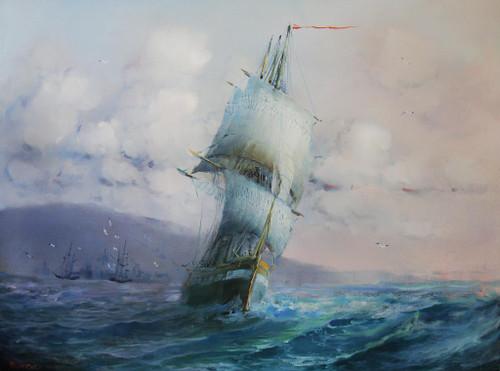 Boat In An Ocean, Motivational Artwork (PRT_793) - Canvas Art Print - 24in X 18in