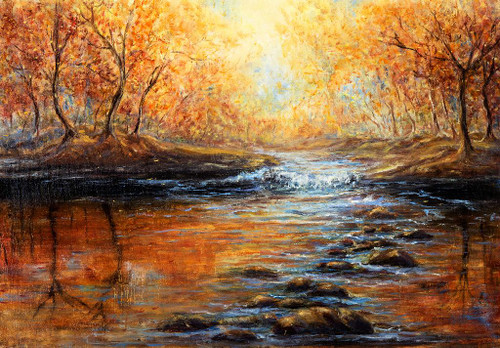 Forest And Stream Autumn Scenery (PRT_799) - Canvas Art Print - 23in X 16in