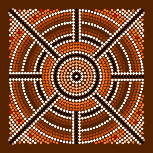 Aboriginal Art, Dot Artwork For Concentration, Meditation And Prosperity 3 (PRT_808) - Canvas Art Print - 28in X 28in
