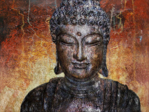 25Buddha47 - 30in X 20in,25Buddha47_3020,Yellow, Brown,75X50 Size,Buddha;Latest Collection Art Canvas Painting