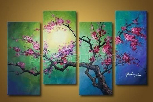 The Flow of Time 1 - 40in X 32in (Details Inside),RTCSC_36_4032,Oil Colors,Multi Piece Paintings,Beautiful Red floral Branch,Museum Quality - 100% Hand painted - Buy Painting Online in India.