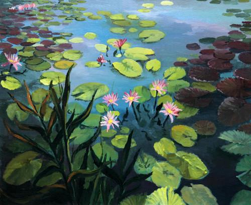 Lotus In Lake (PRT_815) - Canvas Art Print - 22in X 18in