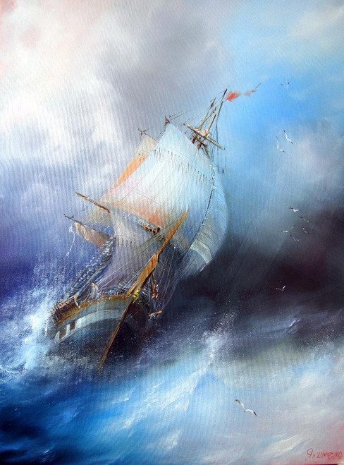 Boat Passing Through Waves 2 (PRT_821) - Canvas Art Print - 19in X 25in