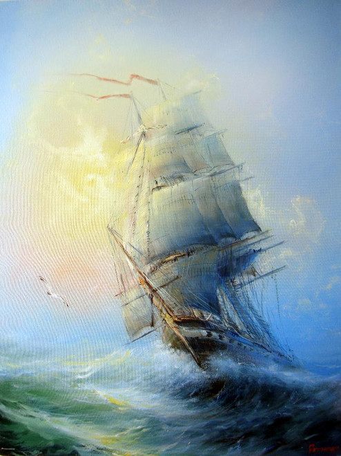 Boat Passing Through Waves 3 (PRT_822) - Canvas Art Print - 19in X 25in