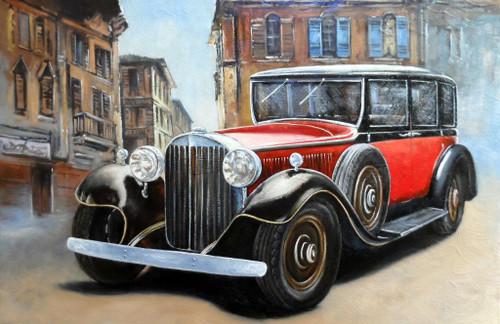 Classic Car On Street (PRT_829) - Canvas Art Print - 23in X 15in