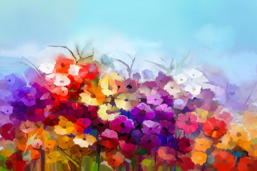 Colourful Flowers  (PRT_862) - Canvas Art Print - 32in X 21in