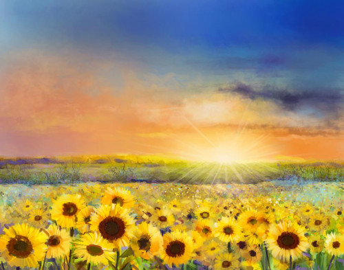 Sunflowers With Sunrise (PRT_868) - Canvas Art Print - 27in X 21in