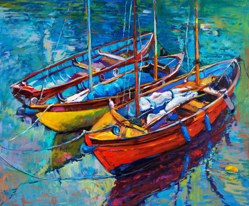 3 Boats Near The Shore (PRT_917) - Canvas Art Print - 22in X 19in
