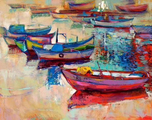Boats Near The Shore 2 (PRT_909) - Canvas Art Print - 18in X 14in