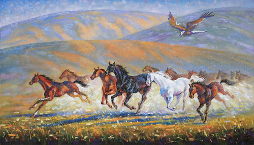 Running Horses With Eagel (PRT_903) - Canvas Art Print - 29in X 17in