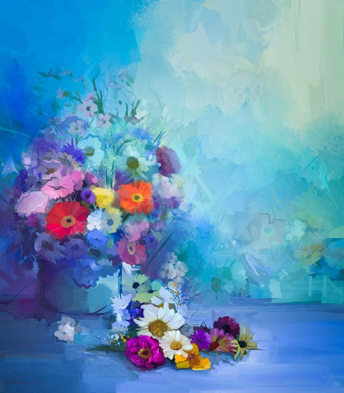 Beautiful Bunch Of Flowers In Vase (PRT_864) - Canvas Art Print - 21in X 24in