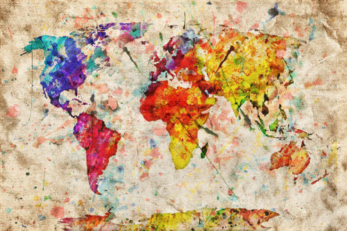 Global Map In Colors (PRT_879) - Canvas Art Print - 32in X 21in