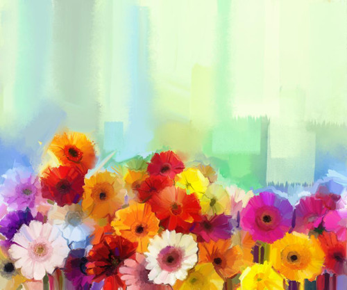 Colorful Bunch Of Flowers, Color Theory Artworks (PRT_855) - Canvas Art Print - 25in X 21in