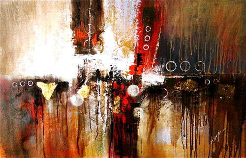 Colors Of Circles - 48in x 32in,RTCSD_37_4832,Abstract, - 100% Handpainted Buy Painting Online in India