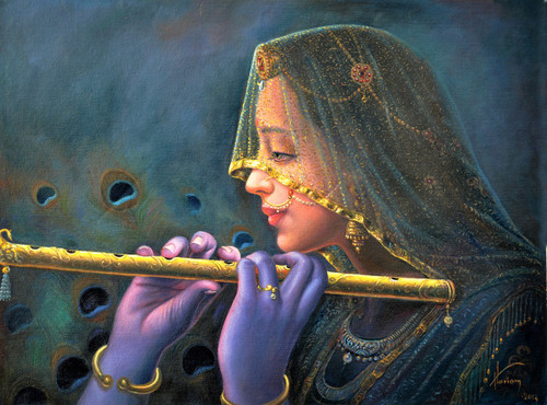 The Flute players (ART_1246_13336) - Handpainted Art Painting - 36in X 24in