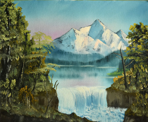 Waterfall in mountain ( 19 x 15 inch ) (ART_976_6458) - Handpainted Art Painting - 19in X 15in