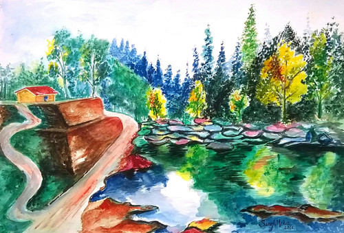 Landscape 3 (ART_1543_32184) - Handpainted Art Painting - 16in X 11in