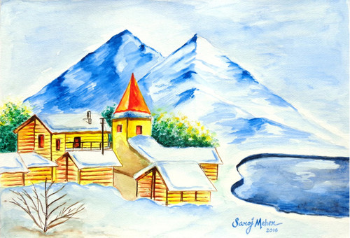 Landscape 2 (ART_1543_32183) - Handpainted Art Painting - 16in X 11in