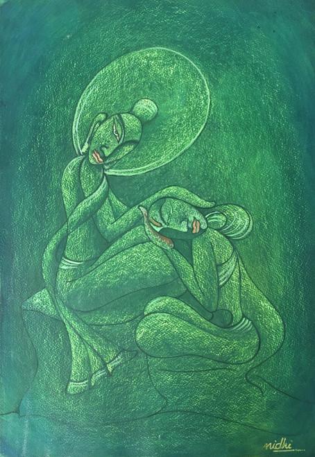 BUDDHA & YASHODHARA (ART_5750_33160) - Handpainted Art Painting - 21in X 27in (Framed)
