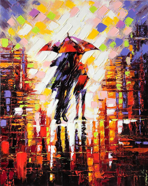 Rainy Day Abstract (PRT_925) - Canvas Art Print - 18in X 23in
