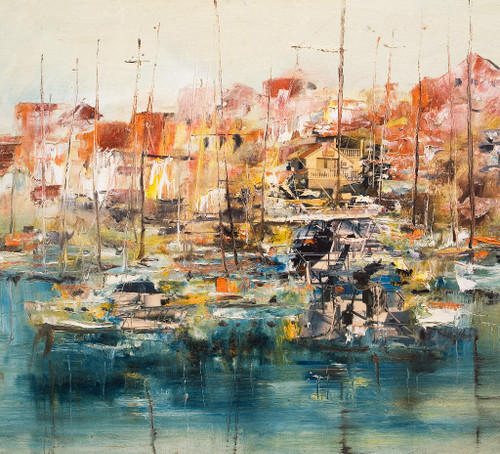 Boats In The Harbor Abstract  (PRT_942) - Canvas Art Print - 23in X 21in