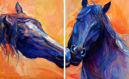 Blue Horses (PRT_943) - Canvas Art Print - 27in X 16in